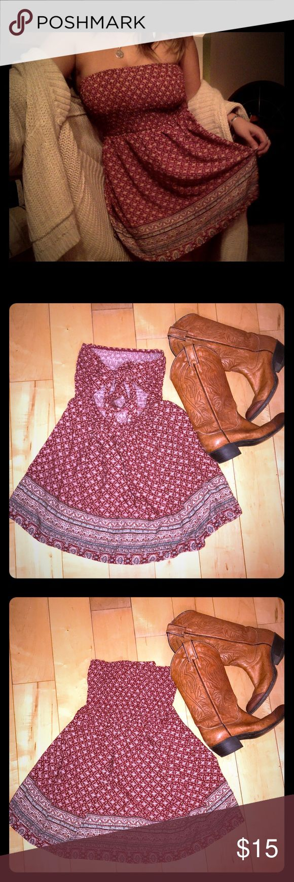 ✌🏻Boho Chic Dress✌🏻 ⭐️PERFECT CONDITION ⭐️  No size tag, but definitely fits as a medium or small Elastic adjustable breast crotchet  Burgundy color with cream accents   🌟TAGGED FREE PEOPLE FOR EXPOSURE, NOT SURE OF BRAND🌟  🌞PERFECT FOR SUMMER FESTIVALS 🌞 — •Offers accepted and encouraged  •Orders guaranteed to ship within 1-2 days  •Bundle for a private discount of at least 10% •Questions always welcomed! Free People Dresses Strapless