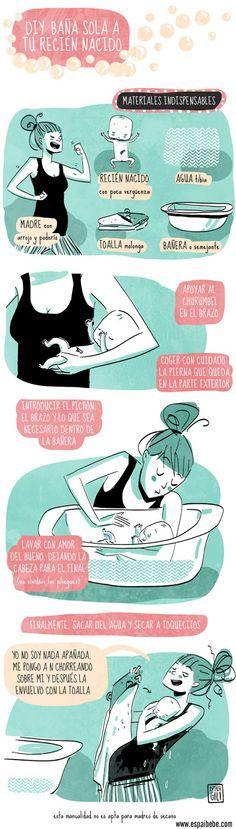 Infografia de como bañar a tu bebé:http://espaibebe.com/es/al-bano