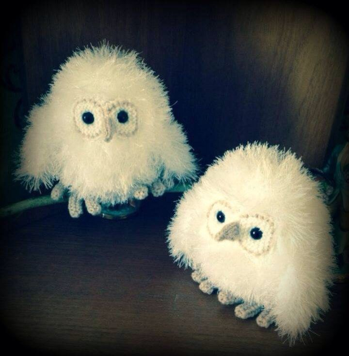 Owls knitted in Tinsel Wool.