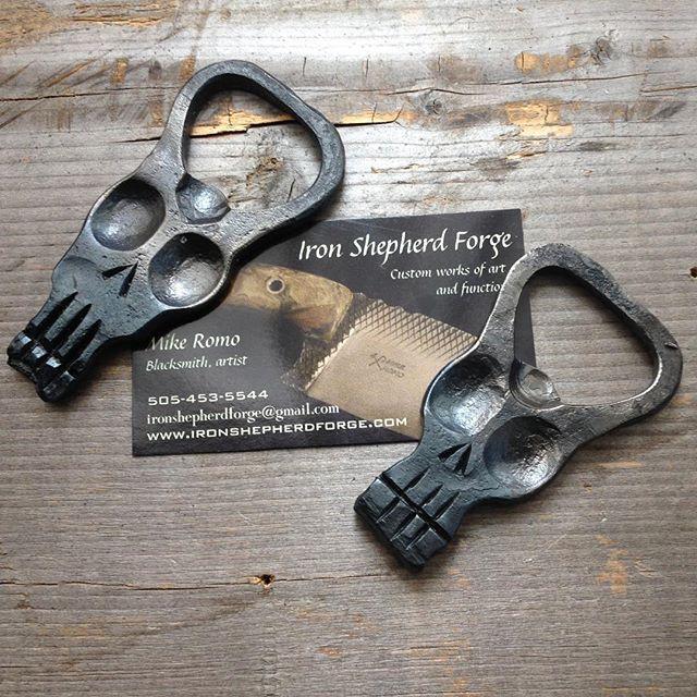 Hand sized bottle opener. #skull #ironshepherdforge #bottleopener #churchkey #blacksmith