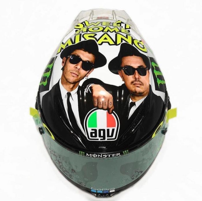 Valentino Rossi's 2016 Misano helmet is based on one of his favorite films - The Blues Brothers' http://rossihelmets.com/valentino-rossi-sweet-home-misano-helmet-2016/