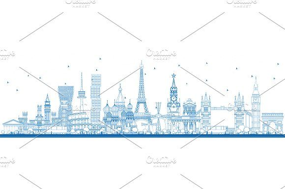 #Outline #Famous #Landmarks in #Europe.  by Igor Sorokin on @creativemarket