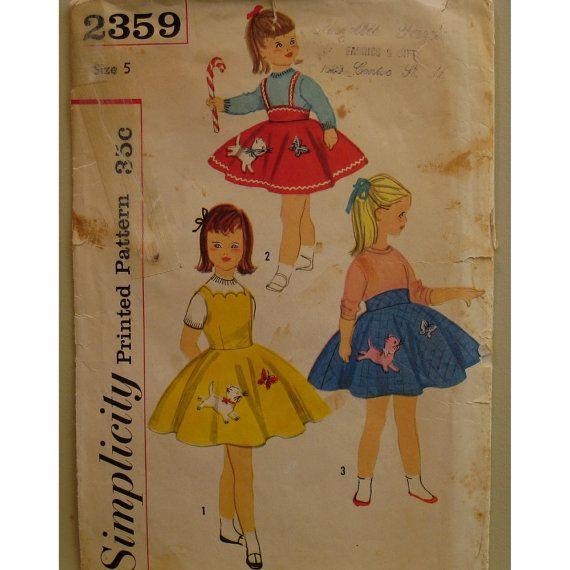 Vintage 1950s Girls Dress Pattern Skirt Jumper By VogueVixens 800