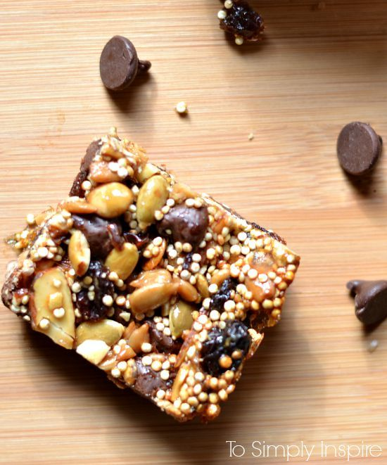 Delicious superfood energy bars are packed full of nutrients and sweetened with honey and just a little touch of chocolate.