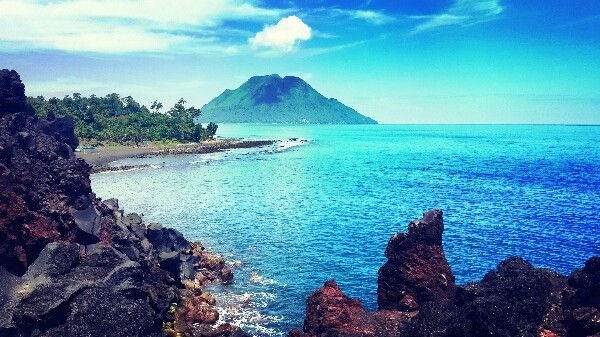 View from the top of Sulamadaha Beach and Tidore - Ternate - Indonesia