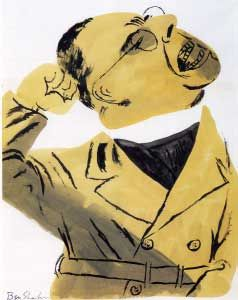 "Ben Shahn, 1939, Father Coughlin (ink and wash on paper), shown as a Hitler-like fanatic. Anti-Semitic priest Father Charles Coughlin, a nationally known radio speaker, was ""famous for denouncing organized labor, the New Deal, and Jews.""  Caption from link"