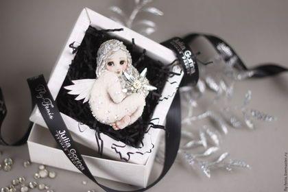 Броши ручной работы. Ярмарка Мастеров - ручная работа. Купить текстильная брошь - Рождественский ангел. Handmade. Белый, юлия горина