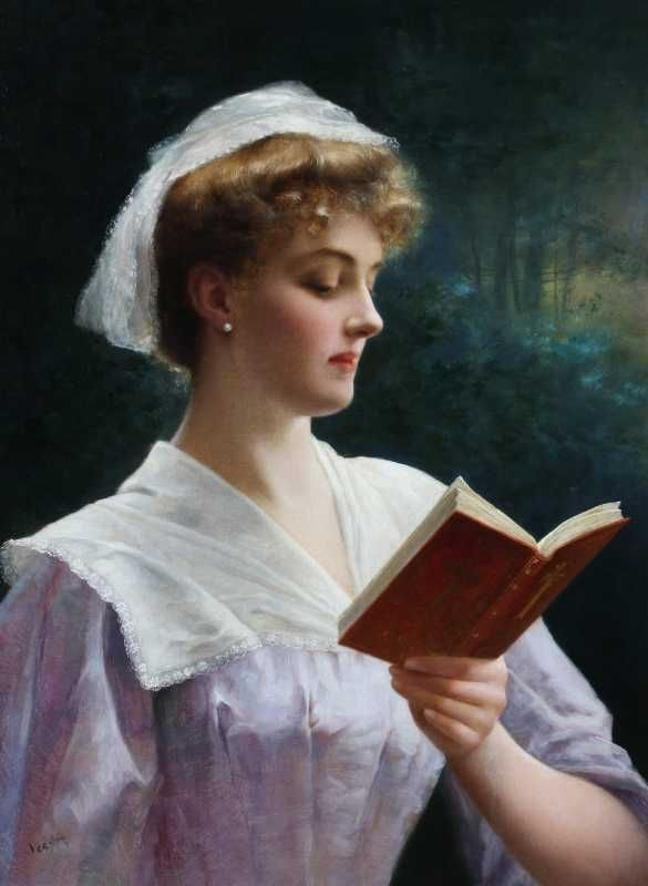 A Young Beauty Reading Her Prayer Book. Emile Vernon. British, (1872-1919).