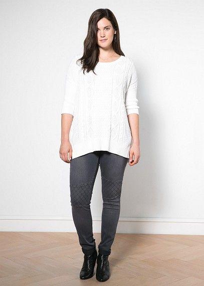 Sweter z mieszanką ściegów -  Plus size | OUTLET