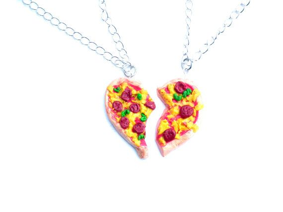 Pizza Necklace Best Friends Pizza necklace BFF by LittlePandahugs