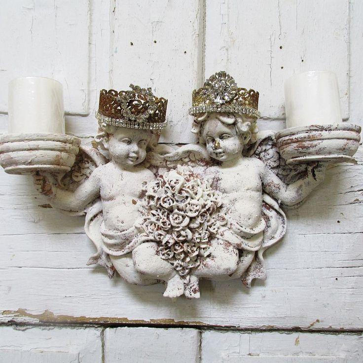 Cherub Candle Holder Wall Sconce With Homemade Rhinestone
