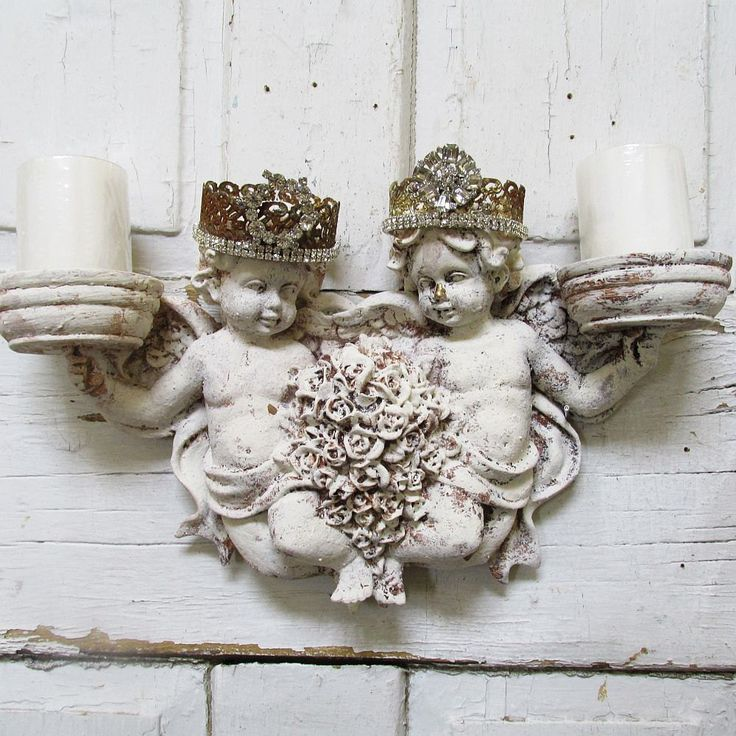 Cherub Candle Holder Wall Sconce With Homemade Rhinestone