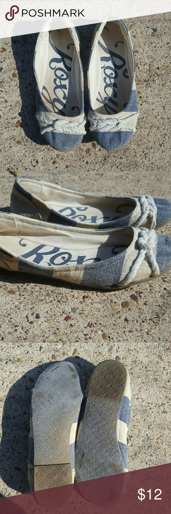 Roxy Nautical Flats Roxy ballet flats, too cute! Does have wear as shown, lots of life left! Bundle and Save! Roxy Shoes Flats & Loafers