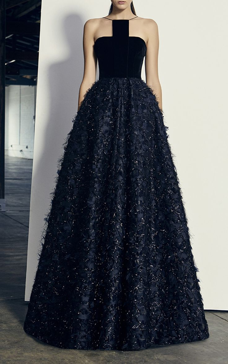 Thorn Lurex Fringe Halter Gown by ALEX PERRY for Preorder on Moda Operandi
