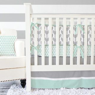 Mint and Gray Arrow Crib Bedding - transitional - baby bedding - by Caden Lane