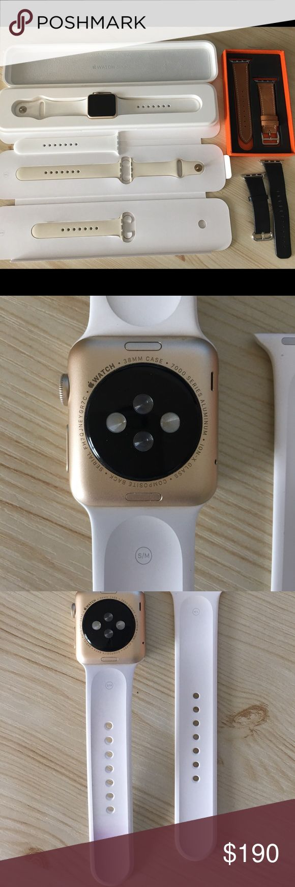 Gold 38mm Apple Watch Bundle-Series 7000: 2nd Gen. Great Condition Apple Watch Bundle Includes: * Gold 38mm Apple Watch (7000 series: Series 1 2nd Generation) *White Sport band (with some wear on backside as seen in photo but not noticeable when worn) *Antique White Sport Band (new condition) *Black and Brown Faux Leather Amazon Bands (both Greta condition) *NIP screen protector *charger cord and original packaging *works beautifully, no issues, I just don't use it as often as I use to Apple…
