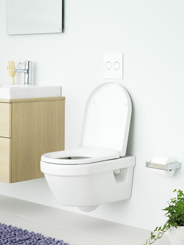Vägghängd toalett med Hygienic Flush. Toalett med öppen spolkant och släta ytor minskar alla eventuella smutsfällor och behovet av starka rengöringsmedel vilket blir skonsammare för miljön. | GUSTAVSBERG
