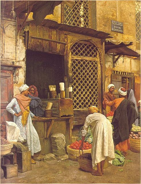 Sharia el Sanadkyeh by Ludwig Deutsch. Ludwig Deutsch (Vienna, 1855 - Paris, 1935) was an Austrian painter who settled in Paris. Deutsch came from a well-established Jewish family. His father was a financier at the Austrian court. He studied at the Vienna Academy of Fine Arts 1872-1875, then, in 1878, moved to Paris where he became strongly associated with Orientalism. He was on good terms with another Austrian Orientalist in Paris, Rudolf Ernst. --Wikipedia