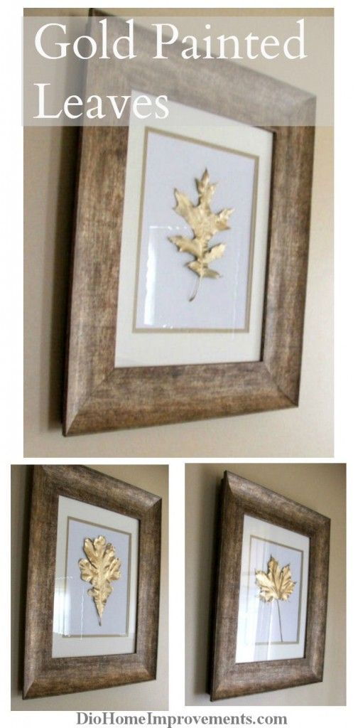 Super easy inexpensive fall project. Painted Gold Leaves fall art project. Inexpensive project, pick leaves, paint them with gold leaf paint & frame!