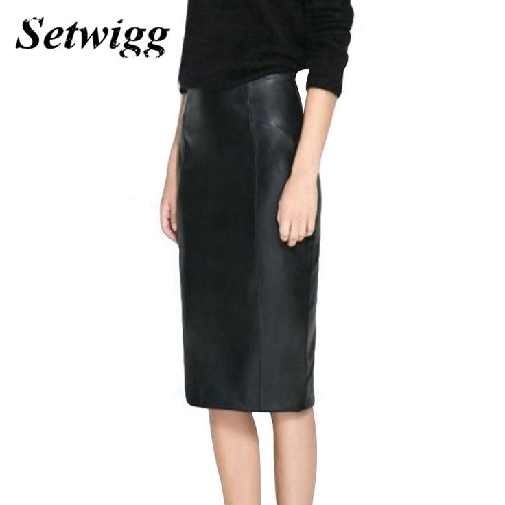 SETWIGG High Quality PU Leather Pencil Skirts Empire Waist Zipper Spring Black Faux Synthetic Leather Bodycon Office Skirt