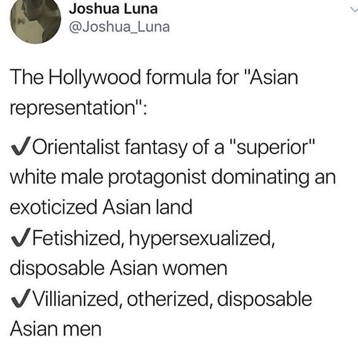 Can we stop and think about the lack of representation and the disrespectful representation of anyone who isn't white? And especially white guys?
