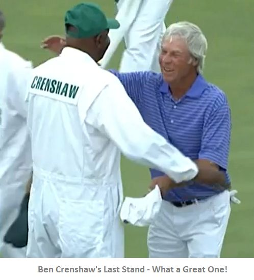 2015 Masters Ben Crenshaw and Carl Jackson say farewell to the Master's golf tournament-2015 Masters Tournament