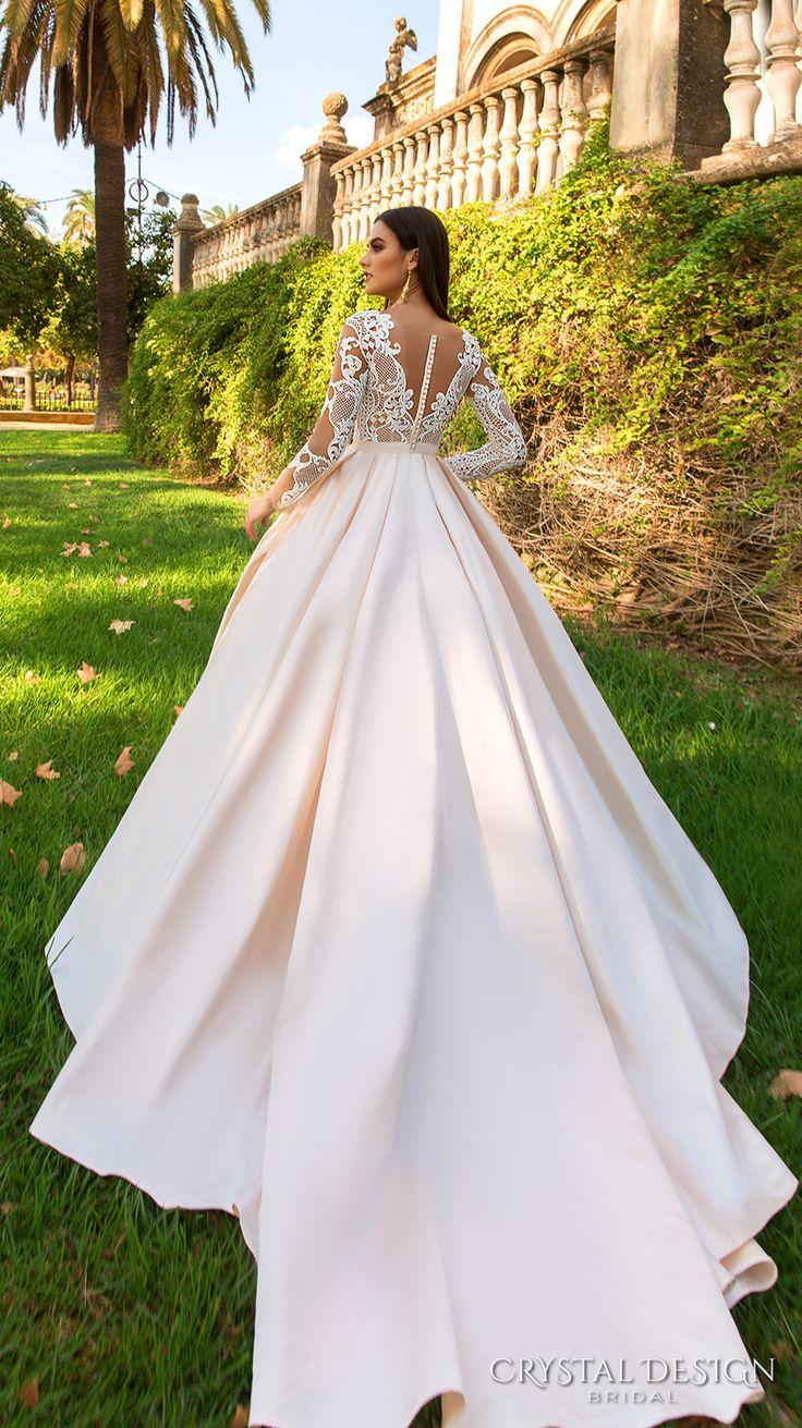crystal design 2017 bridal long sleeves sweetheart neckline full embellishment lace glamorous a  line wedding dress sheer back royal train (ohara) bv