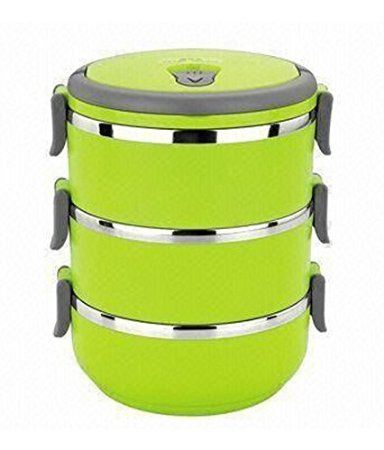 Ruby Tiffin_3 Layer_Green Home Unian Stainless Steel And Plastic 3 Containers Lunch Box