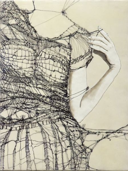 Unraveling 2 | Andrea Benson Andrea Benson, Dresses Sketches, Art Design, Mixed Media, Thread Painting, Fashion Illustration, Encaustic Painting, Line Drawing, Nature Beautiful