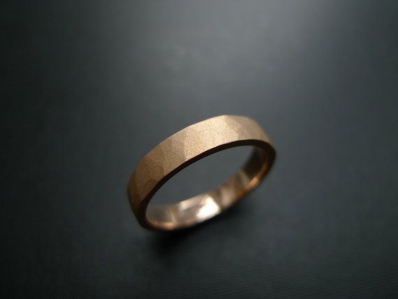 Hammered Wedding Ring in 14K Rose Gold by honngaijewelry on Etsy, $780.00