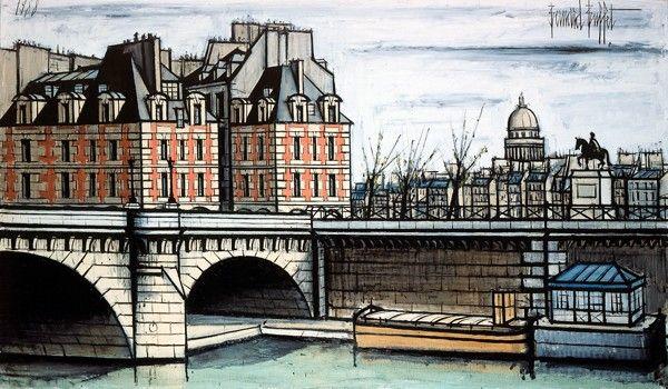 Bernard Buffet - Le Pont-Neuf et le Vert-Galant - 1988 -  oil on canvas - 114 x 195 cm - ©ADAGP