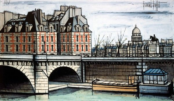 Bernard Buffet - Le Pont-Neuf et le Vert-Galant - 1988 -  oil on canvas - 114 x 195 cm - ©ADAGP