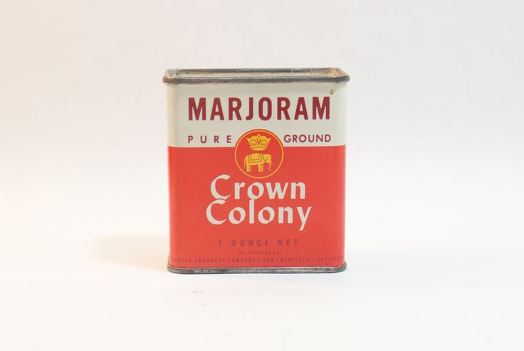 Marjoram Spice Tin Crown Colony Vintage Tins 1 Oz Metal Storage Staging Props by DoorCountyVintage on Etsy
