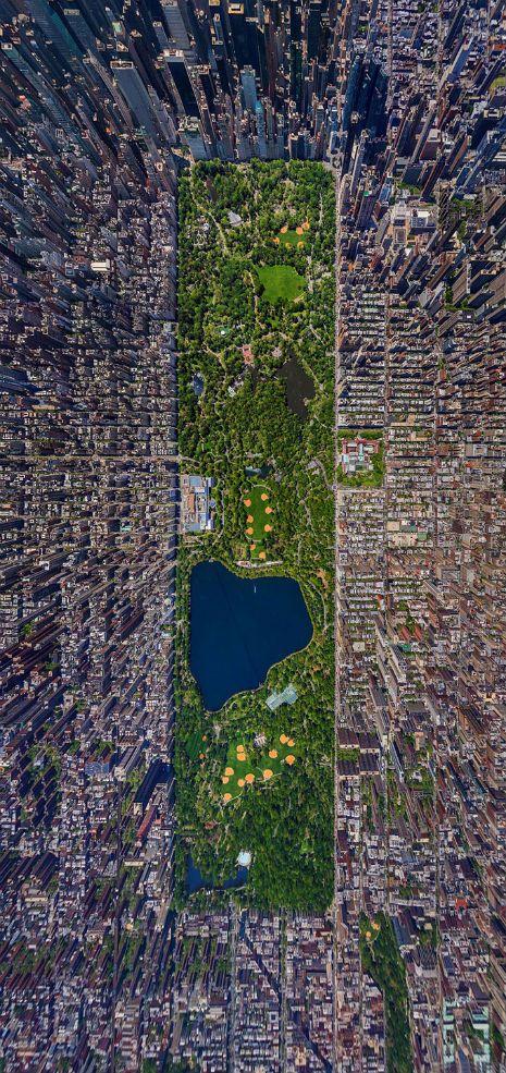 O blog Dangerous Mind postou esta foto incrível que mostra o Central Park de Nova York dentro da paisagem da cidade.