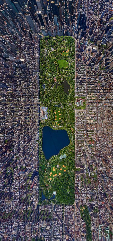 Impressive aerial view of New York City's Central Park