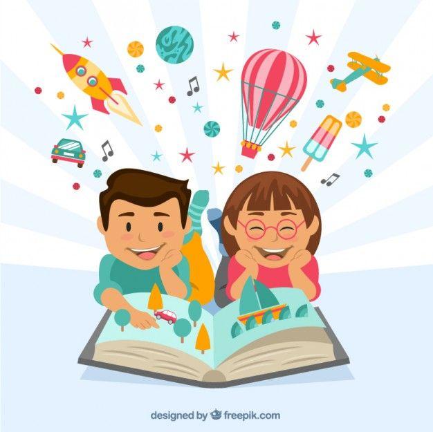 Des enfants heureux de lire un livre imaginative Vecteur gratuit