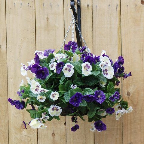 charming blue and white artificial pansy hanging basket. Black Bedroom Furniture Sets. Home Design Ideas