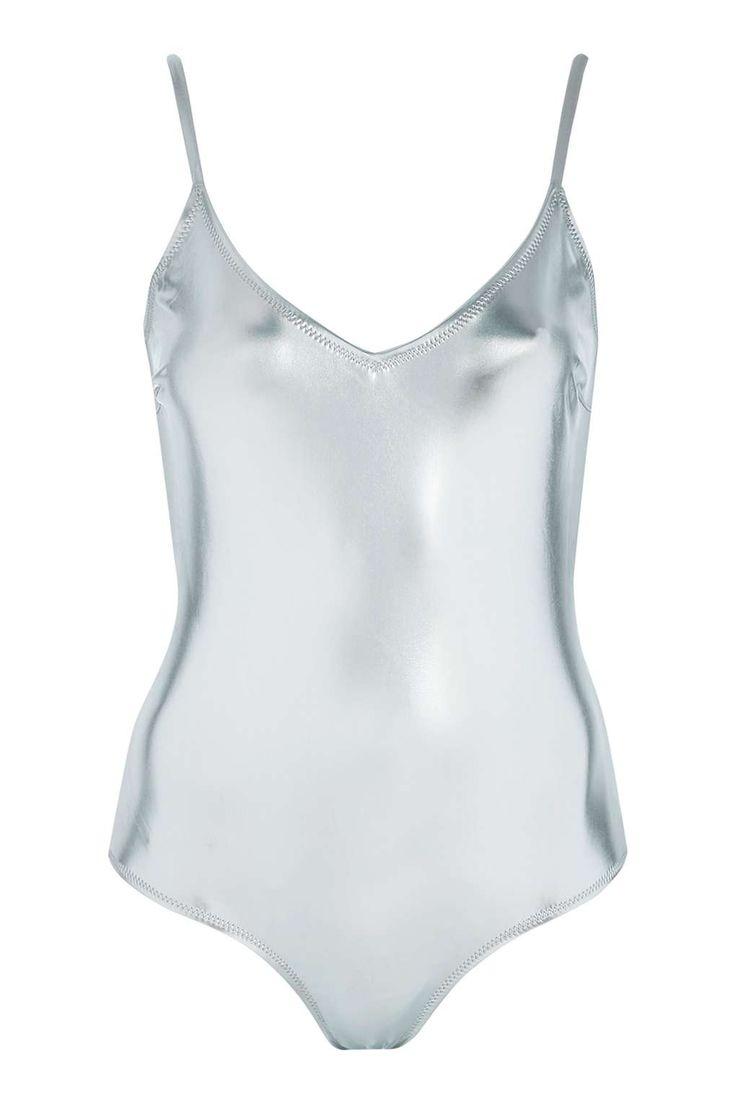 Metallic Low-Back Swimsuit - Topshop USA