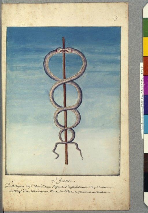 Illustration pour Le Livre d'Abraham le Juif : le caducée de Mercure - Nicolas Flamel
