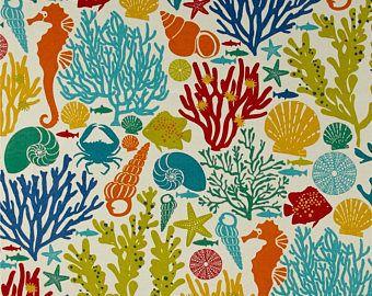 Ocean Theme Shower Curtain, Seahorse Shower Curtain, Seashell Shower Curtain, Bright Multi-color Bathroom Decor, Beach Decor