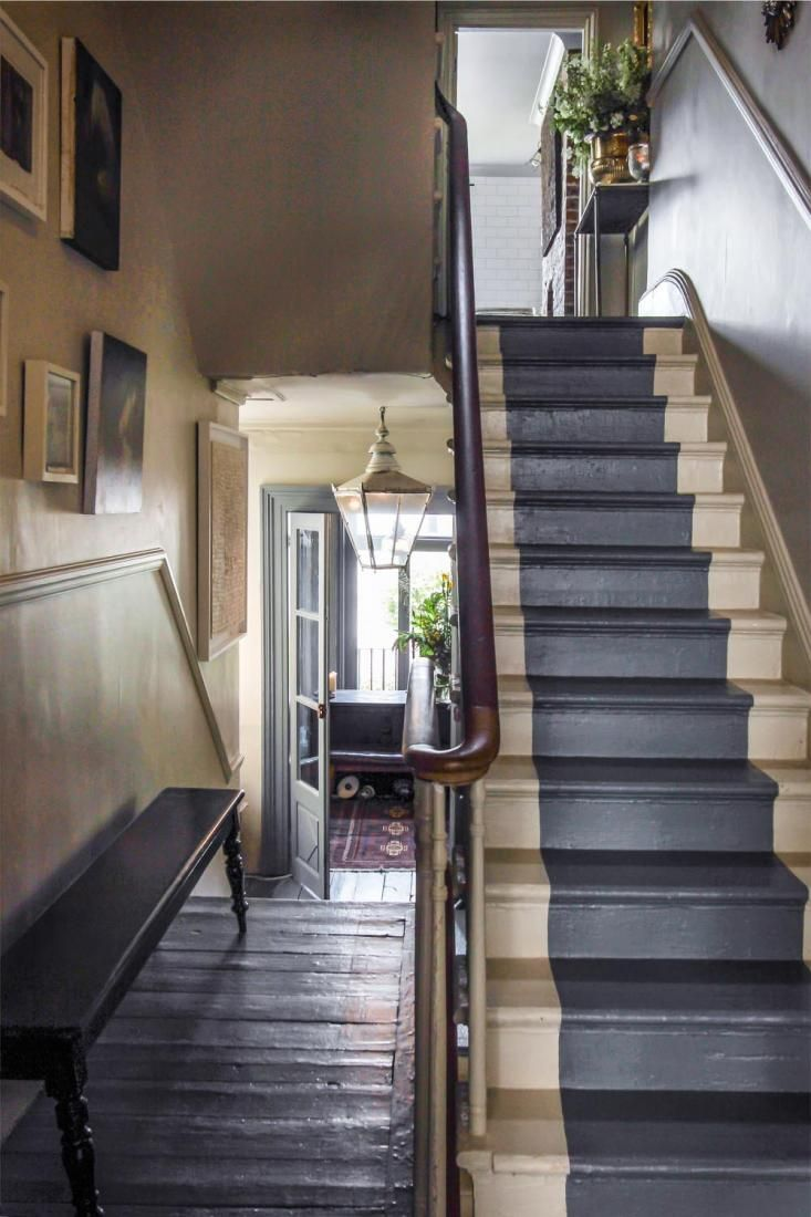 Don like the painted stairs but like the idea with a black or dark grey carpet up the stairs