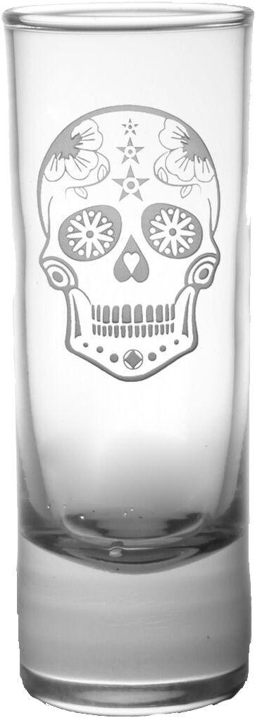 Sugar Skull Cordial Glass 2.5oz - $6.95 #glassware #bar #nautical #beach #tropical #bar #sugarskull #decor #kitchen