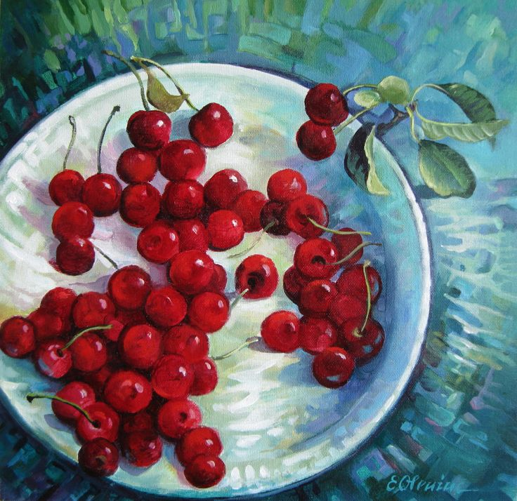 """""""Sour Cherries"""" by Elena Oleniuc.  A beautiful bright vibrant painting of fresh cherries.  Dimensions: 30 x 30 cm Price: £150  This painting is the perfect gift for foodies and art lovers, and will really brighten up your living room or bedroom interiors. Click to view more of Elena's stunning painting collection on FineArtSeen l The Home Of Original Art  >"""