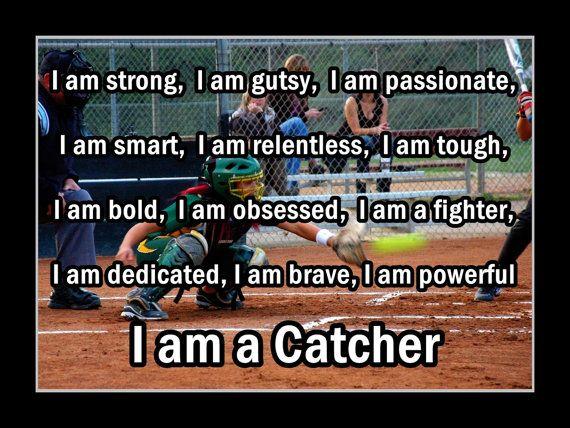 Softball I AM A CATCHER Quote Inspiration by ArleyArtEmporium