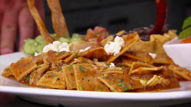 Chilaquiles Rojos (Traditional Mexican Breakfast Dish)