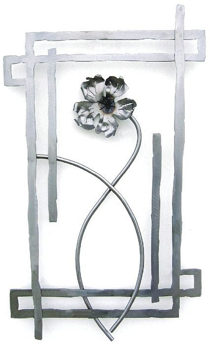 Ship in 2-4 weeks This steel wall sculpture made up of a brightly sanded steel framework surrounding a single 3D metal flower. Entire piece hangs 1 1/4'' away from wall from a hidden bracket. As we cu