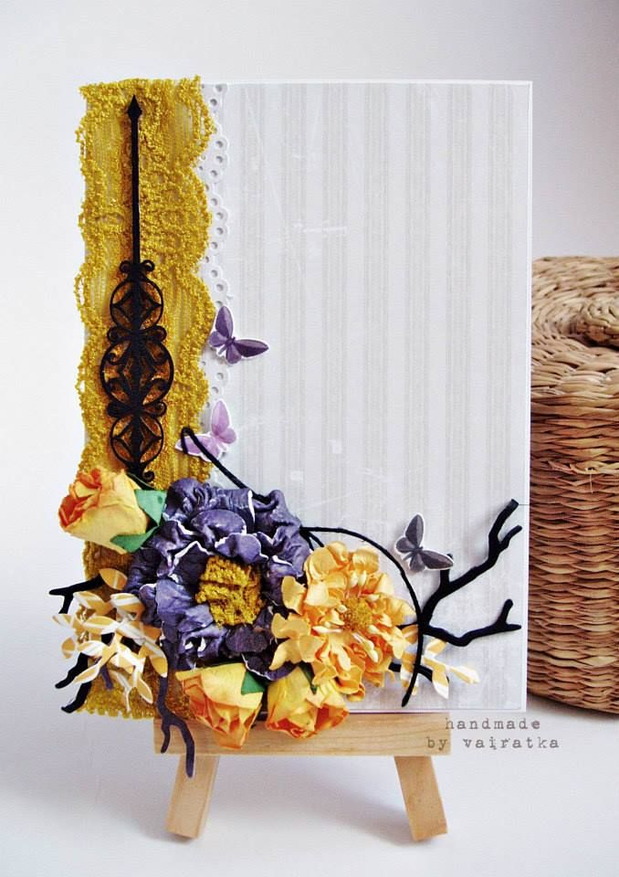 ScrapAndMe: Wyzwanie #12: bingo of colours - a card by Vairatka - yellow, gray, violet