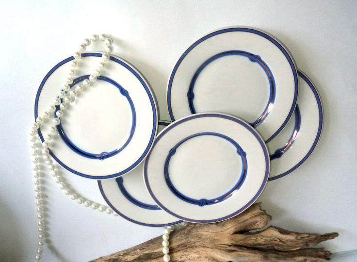 Vintage Christofle China, Christofle Rubanea Bleu, Christofle Dinnerware, Blue…
