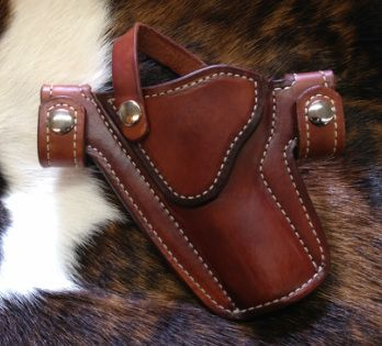 Snap Holster - for Revolver, lined, chestnut dye, with retention strap