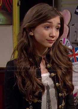 Riley's Eiffel Tower tee and black military jacket on Girl Meets World.  Outfit Details: http://wornontv.net/35426/ #GirlMeetsWorld